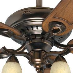 #Hunter #52 #Inch Bronze Patina Finish #Ceiling #Fan With Tea Stain Glass Light Kit. #Hunter #28792