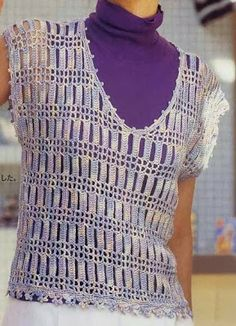 Unusual crochet shirt (I love these rectangles, reminds me of Jacob's Ladder) DE MIS MANOS TEJIDOS Y MAS...
