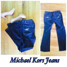 Michael Kors Size 8 Blue Jeans dark denim light blue stitching. initials MK on back pockets. 28 inch inseam. MICHAEL Michael Kors Jeans Boot Cut