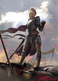 Fierce by MiguelCoimbra female fighter paladin knight soldier Joan of Arc Jeanne d'Arc sword broadsword platemail armor clothes clothing fashion player character npc | Create your own roleplaying game material w/ RPG Bard: www.rpgbard.com | Writing inspiration for Dungeons and Dragons DND D&D Pathfinder PFRPG Warhammer 40k Star Wars Shadowrun Call of Cthulhu Lord of the Rings LoTR + d20 fantasy science fiction scifi horror design | Not Trusty Sword art: click artwork for source: