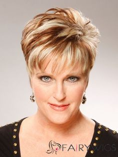 Short Straight Formal Hairstyle - Dark Copper Blonde Hair Color Short Hairstyles for Women Over 60 Who Wear Glasses Short Hairstyles For Thick Hair, Short Straight Hair, Short Hair Styles Easy, Short Hair With Bangs, Short Hair Cuts For Women, Short Haircuts, Popular Haircuts, Hairstyle Short, Thin Hair