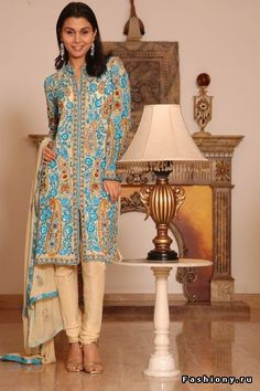 Designer Jacket Style Salwar Kameez With Embroidery And Sequins. : Online Shopping, - Shop for great products from India with discounts and offers, Indian Clothes and Jewelry Online Shop Churidar Suits, Salwar Kameez, Kurti, Pakistani Outfits, Indian Outfits, Indian Clothes, Jacket Style, Jacket Dress, Dress Jackets