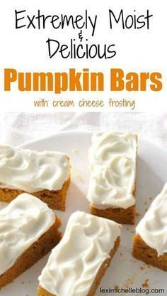 This easy Pumpkin Bars with cream cheese frosting recipe turns out perfect every. - This easy Pumpkin Bars with cream cheese frosting recipe turns out perfect every time! My husband & - Fall Baking, Holiday Baking, Christmas Baking, Dessert Haloween, Halloween Desserts, Easy Pumpkin Bars, Pumkin Bars, Easy Pumpkin Desserts, Pumpkin Cream Cheese Bars