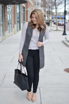 long gray vest outfit - long sleeve stripe tee with long gray vest, black skinny jeans, and nude flats. Want more cute casual outfits? Head to bylaurenm.com!