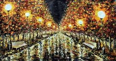Night Park Painting - Night Street - Palette Knife Painting By Rybakow by Valery…