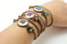 Leather bracelet two laps, floral medal, multicolor bracelet, polymer clay