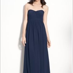 """Jenny Yoo Aidan gown in Navy Jenny Yoo Aidan gown in navy. Has two chiffon pieces that can be tied 15 different ways. Length fitted for 5'11"""" person wearing flats. Jenny Yoo Dresses Wedding"""