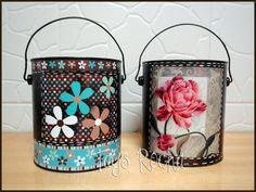 Reciclagem - Latas florais em decoupage e pintura | Tays Rocha