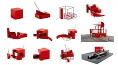 Parc de La Villette's Folies, Bernard Tschumi: Adding this image as playful notion for plaza. Ties to Scott's idea of having large objects that could be relocated by forklift. Concept Architecture, Landscape Architecture, Interior Architecture, Landscape Design, Architecture Diagrams, Parc La Villette, Bernard Tschumi, Materials And Structures, 3d Modelle
