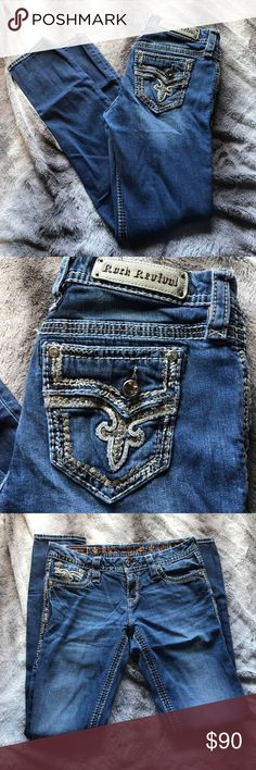 Rock Revivals (27) Size 27! These are the 'Betty' style and are an 'Easy Skinny'. They have been worn but have lots of life left. There are no flaws and are super cute rolled up with sandals or tucked into boots. They're comfy and stretchy. No gems missing! No trades! Rock Revival Jeans Skinny