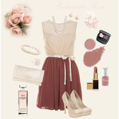 Romantic Rose - skater dress ensemble.  by triciadiane on Polyvore