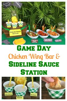Serve you game day fans a Chicken Wing Bar with a Sideline Sauce Station. Tailgating Recipes, Tailgate Food, Tailgate Parties, Football Parties, Football Tailgate, Football Birthday, Ranch Dip, Chicken Bar, Chicken Wings