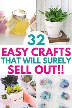 32 Easy Crafts To Sell For Extra Cash Most profitable crafts to make and sell from home. These 33 craft ideas are the best thing to sell on Etsy to make money. Find out the best selling handmade items 2019 and make some easy money from home RIGHT AWAY! Diy Crafts For Teen Girls, Diy And Crafts Sewing, Handmade Crafts, Craft Ideas To Sell Handmade, Craft Fair Ideas To Sell, Kids Diy, Diy Craft Projects, Project Ideas, Easy Crafts To Sell