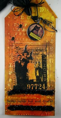 Suzz's Stamping Spot: Haunted Troubles, her Tim Tag inspired by Tim Holtz October Tag. ♥♥