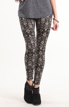 Black Taupe Tribal Leggings.  I need these! They are SO me!
