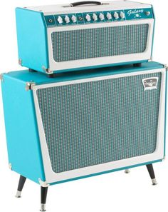 Tone King Galaxy 60W Tube Guitar Amp Head Turquoise Turquoise, With Cabinet, Right-Facing