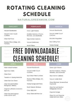 Rotating Cleaning Schedule with months and cleaning or decluttering tasks assign. , Rotating Cleaning Schedule with months and cleaning or decluttering tasks assigned to each month. Deep Cleaning Schedule, Clean House Schedule, Kids Schedule, Cleaning Checklist, House Cleaning Tips, Spring Cleaning, Cleaning Hacks, Cleaning Schedules, Bedroom Cleaning