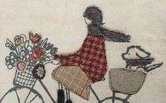 Made By Hand Online - Embroidered bike stitched wallpiece by Janine Pope at madebyhandonline Free Motion Embroidery, Folk Embroidery, Cross Stitch Embroidery, Applique Designs, Machine Embroidery Designs, Stitch Pictures, Applique Fabric, Thread Painting, Fabric Art