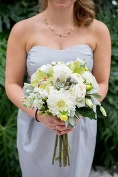 pretty white and greenery. This one would be perfect for bridesmaids if there was some slight tones of peach and coloured accents thrown in!