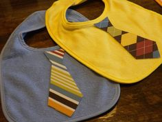 Handmade bibs with ties and bow ties.  Sophisticated baby!