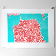 Typographic Map of san Francisco  screen print by SeagullHut, $236.00