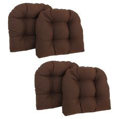 Blazing Needles Twill U-Shaped Indoor Chair Cushion - Set of 4