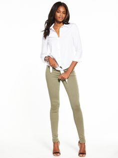 V by VeryAddison High Waist Super Skinny Jean Make the style switch from your signature blue jeans with V by Very's Addison high-waisted skinny in this season's cool khaki. The sprayed-on fit creates a lush leggy look, while the high-rise waist flatters the tum and derriere! Styling Ideas Pair with a draped blouse and teetering stilettos to wow your dinner date.
