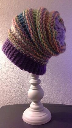 Slouchy hat, loom knitting