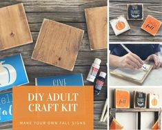 DIY KIT Wood Fall Sign adult craft kit diy fall decor Etsy diy craft kits for adults - Diy Easy Crafts To Make, Diy Arts And Crafts, Diy Crafts For Kids, Decor Crafts, Fall Crafts For Adults, Etsy Crafts, Fun Crafts, Diy Kits For Adults, Do It Yourself Crafts