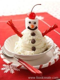 Turn any sundae into a snowman sundae.   41 Adorable Food Decorating Ideas For The Holidays