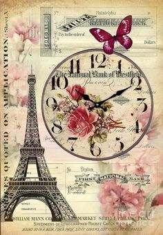 French Botanical Art Digital Art - Vintage Paris Butterfly Antique Clock by Cranberry Sky