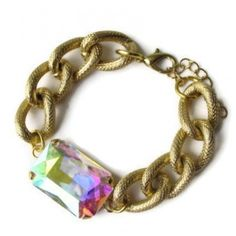 LOVE this!!! Aurora Borealis Large Crystal and Gold Chain Bracelet