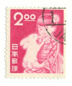 Girl & rabbit, 1951, Japan - rabbit postal stamp