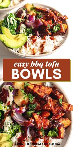 Fresh and flavourful BBQ tofu bowls with pineapple, broccoli, red onion and rice. Easy to make with just 6 ingredients for a delicious and healthy vegan dinner. Tofu Recipes, Vegetarian Recipes, Vegan Recipes Easy, Real Food Recipes, Meal Recipes, Bbq Tofu, Vegan Barbecue, Vegan Dinners, Lunches And Dinners