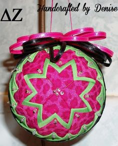 Delta Zeta ~ Quilted look fabric ornaments for all seasons made by Handcrafted by Denise