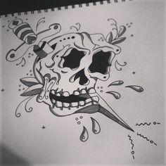 #traditional #american #tattoo #skull #dagger