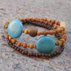 """Sandalwood and turqoise bracelet from """"Lovepray"""" jewelry.  Love this."""