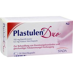PLASTULEN Duo 102mg Eisen-0,5mg Folsäure Weichkps:   Packungsinhalt: 50 St Weichkapseln PZN: 02903083 Hersteller: STADAvita GmbH Preis:…