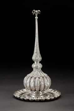 Filigree silver rosewater sprinkler with tray