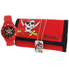 Tikkers Boys Pirates Red & Black Watch, Necklace & Wallet Gift Set ATK1012