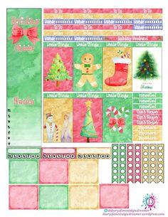 Holiday Cheer Kit Free Printable Planner Stickers.