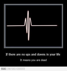 if there are no up and downs in your life, it means you're dead.