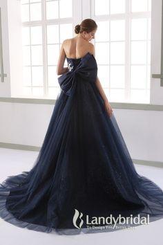 カラードレス プリンセス 取り外し式リボン2つ ビスチェ ネイビー タフタ JUL015007 価格 ¥70,200