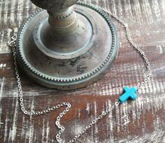 Tiny Turquoise Sideways Cross Necklace