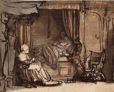 'Interior with Saska in bed' by Rembrandt