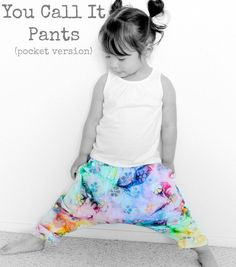 "Suburbia Soup: Harem-Sareoul-MC Hammer ""You Call It"" Pants Pattern {pocket version} (knit fabric and tye dye) Pants Pattern Free, Harem Pants Pattern, Free Pattern, Sewing Patterns For Kids, Sewing For Kids, Baby Sewing, Sewing Kids Clothes, Diy Clothes, Mc Hammer Pants"