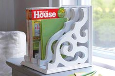 Magazine rack with brackets and book ends