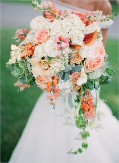 loose wedding bouquet. Adore the volume, ornamental kale, and lambs ear! I also love the ratio of flowers to greenery, though I would prefer brighter pink instead of white.