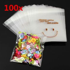 100pcs Happy Face Mini Plastic Self Adhesive Packing Bags