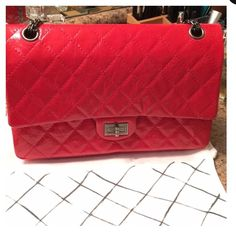 AUTH NEW CHANEL FLAP 100% authentic only! NEW CHANEL Classic reissue flap bag jumbo size 227. stunning all metal chain ruthenium color. Bright red leather crackled distressed finish calf skin with a shiny finish on it very durable & easy to clean love this style! Doesn't scratch or damage if you get something on it. Awesome bag for any occasion. Fit a lot, Double flap. Comes with everything. Dust bag original box tags & authenticity card. No trades!!! Serious buyers ONLY please! Feel free to…